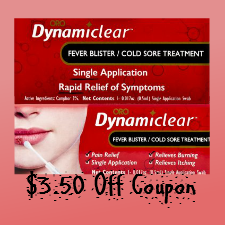 Dynamiclear cold sore treament coupon
